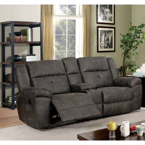 Furniture of America Feodosiya Brown Reclining Loveseat with Center Console
