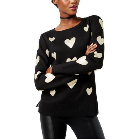 I-N-C Womens Metallic Heart Knit Sweater