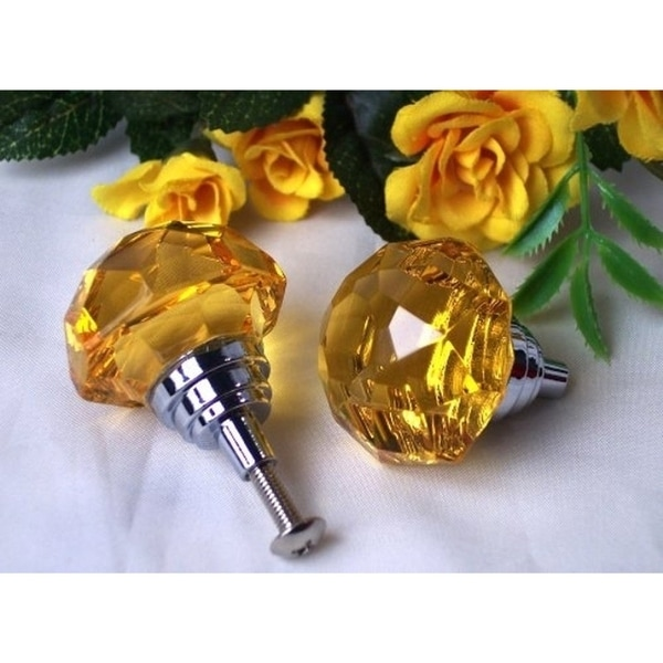 Amber Solid Crystal Drawer / Door Pull
