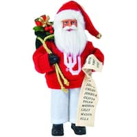 "9"" NCAA Oklahoma Sooners Santa Claus with Good List Christmas Ornament"