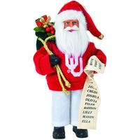 "9"" NCAA Oklahoma Sooners Santa Claus with Good List Christmas Ornament - RED"