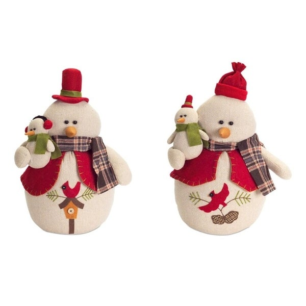 Pack of 4 Snowman with Baby Snowman and Cardinals Table Top Accessories 17.25""