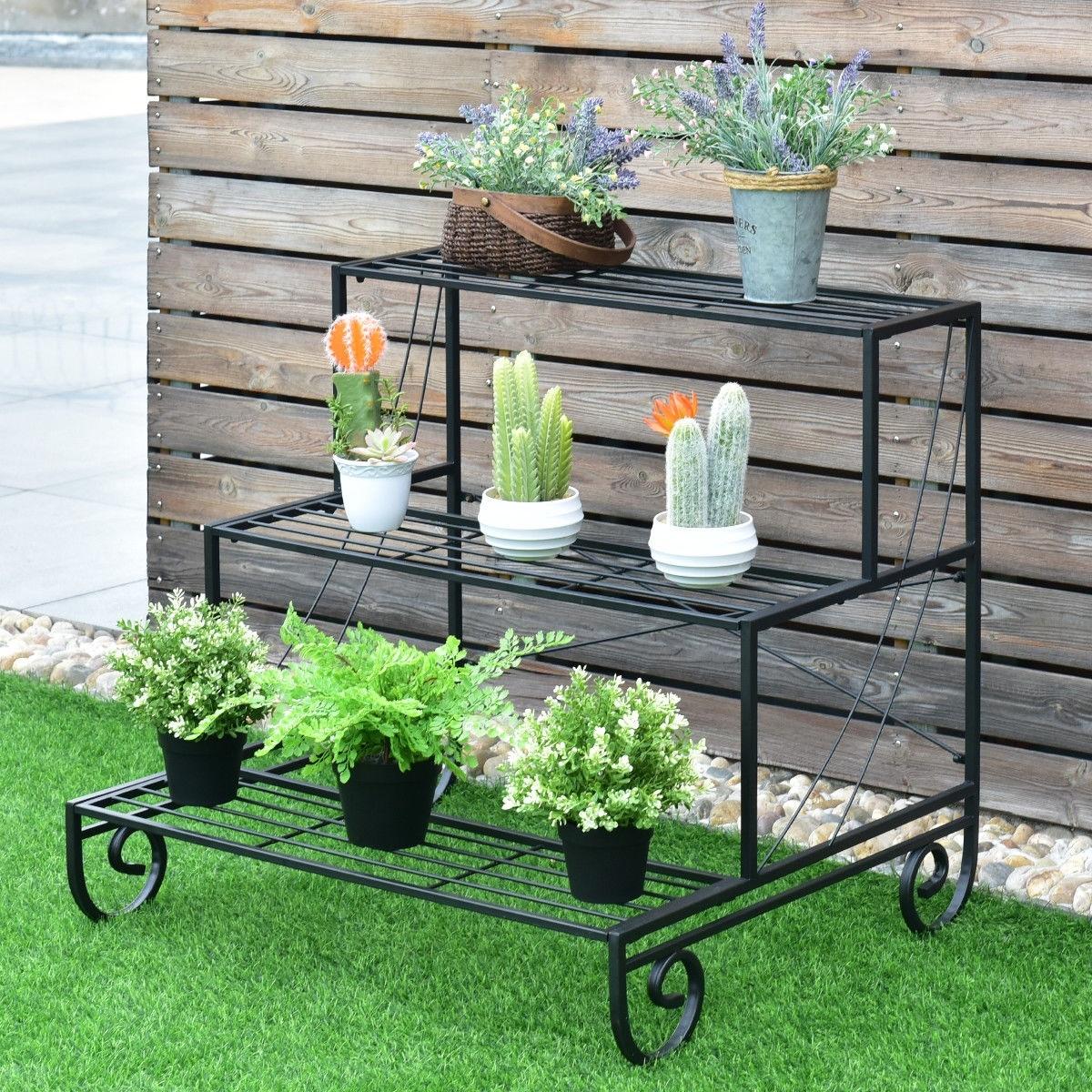 Costway 3 Tier Outdoor Metal Plant Stand Flower Planter Garden Display Overstock 18730563