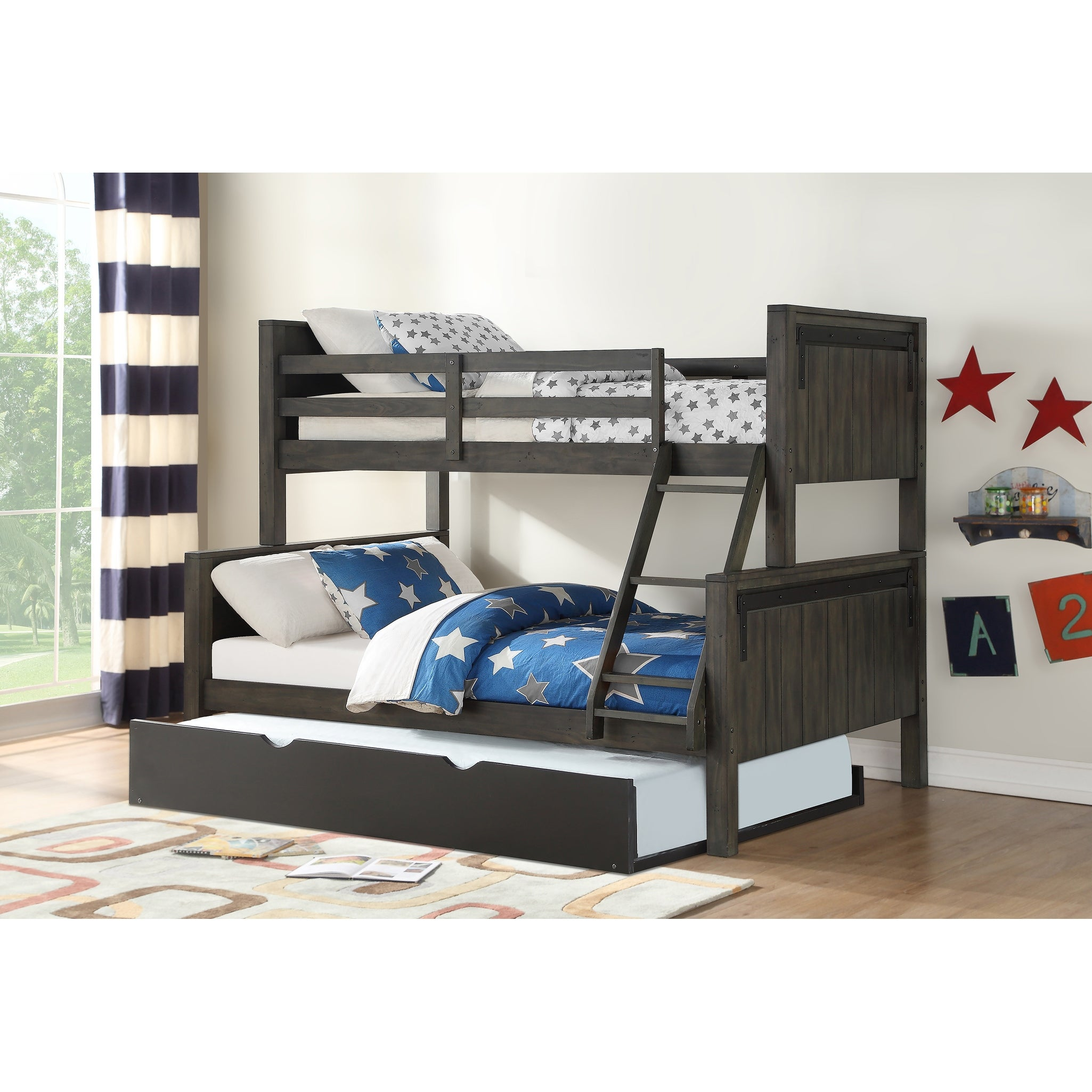 Picture of: Twin Over Full Barn Door Bunk Bed In City Shadow With Twin Trundle In Low Sheen Black Overstock 28520685