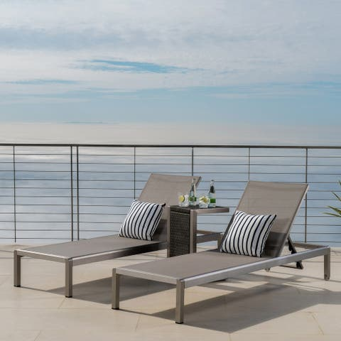 Cape Coral Mesh Chaise Lounge with End Table by Christopher Knight Home (Set of 2)