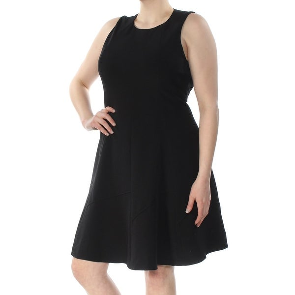 ANNE KLEIN Womens Black Sleeveless Jewel Neck Above The Knee Fit + Flare Wear To Work Dress Size: 16
