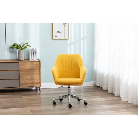 Linen Swivel Upholstered Home Office Desk Chair With Wheels