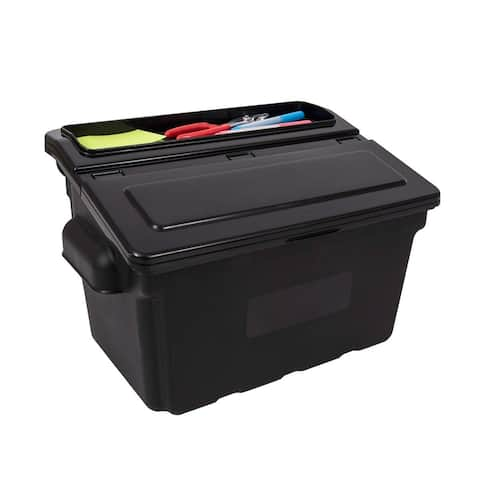 Offex Outrigger Storage Tub Utility Cart Bin with Removable Lid - Black, 2 Pack