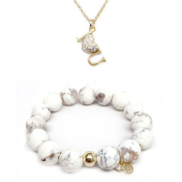 "White Agate 7"" Bracelet & CZ I Heart U Gold Charm Necklace Set"