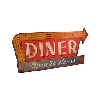 Distressed Finish Retro 24 Hour Diner Metal Sign - Red