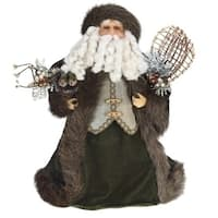 "17"" Brown and Green Christmas Santa Claus Figure"
