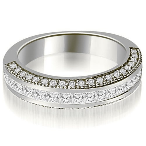 1.20 cttw. 14K White Gold Princess and Round Diamond Antique Wedding Band