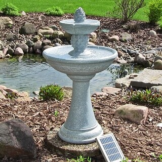 Sunnydaze Dual Pineapple Tiered Solar on Demand Fountain with Lights - 34 Inches