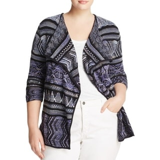 Lucky Brand Womens Plus Lotus Cardigan Sweater Pattern 3/4 Sleeves