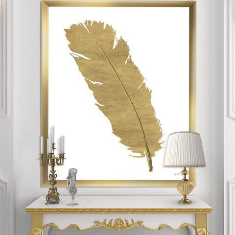Designart 'Glam pure Gold Feather II' Glam Framed Art Print