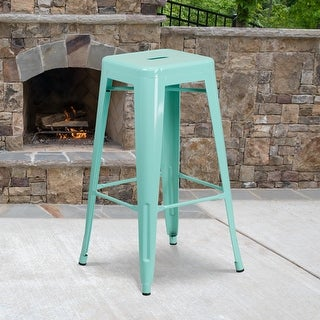 """Link to 30"""" High Backless Metal Indoor-Outdoor Barstool with Square Seat Similar Items in Dining Room & Bar Furniture"""