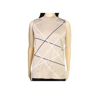 Alfani Womens Large Stripe Vest Sleeveless Sweater