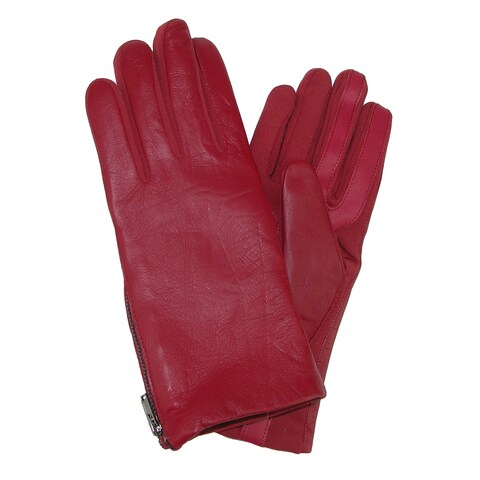 Isotoner Women's Smartouch Stretch Leather Glove with Side Zipper
