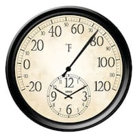 """Springfield 91575 Thermometer With Clock, 14"""""""