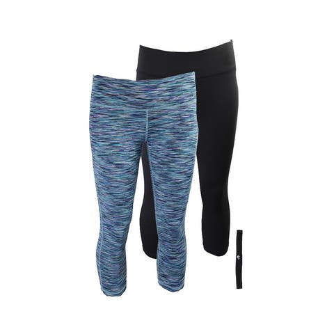 Ideology Teal Multi Black Cropped Leggings And Headband Gift Set XS