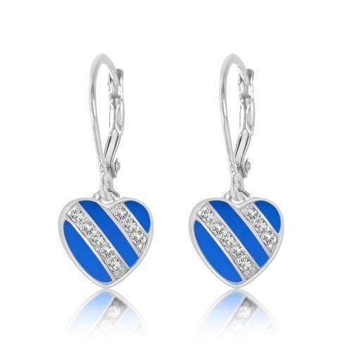Kids Earrings - 925 Sterling Silver with a White Gold Tone Blue Enamel Striped L
