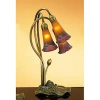 Meyda Tiffany 13674 Stained Glass / Tiffany Desk Lamp from the Lilies Collection