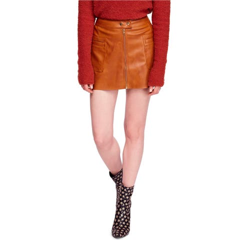 Free People Womens A-Line Faux Leather Mini Skirt