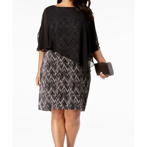 Connected Apparel Black Womens Size 20W Plus Chiffon Sheath Dress