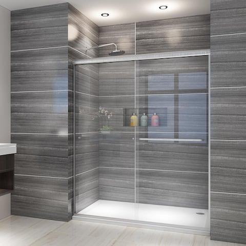 ELEGANT 58.5-60''W x 72''H Semi-Frameless Double Sliding Shower Door