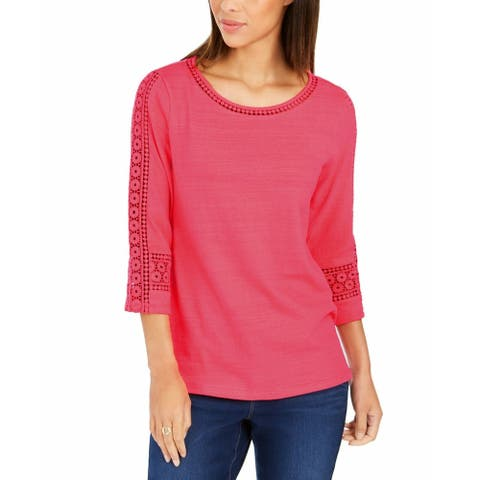Charter Club Women's Crochet-Inset Top Med Pink Size Extra Large - X-Large