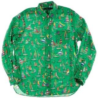 Polo Ralph Lauren Mens Linen Printed Button-Down Shirt