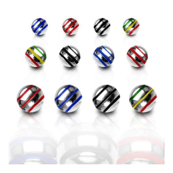 10 Pieces Pack Surgical Steel Stripe Ball - 16GA (4mm Ball)