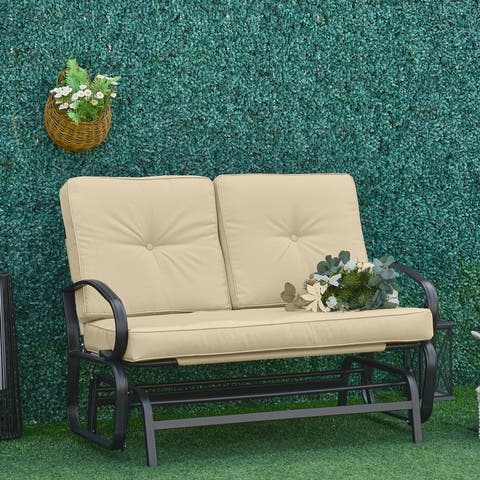 Outsunny Outdoor 2-Person Gliding Chair Patio Glider with Cushions and Armrest for Garden Yard Porch Steel