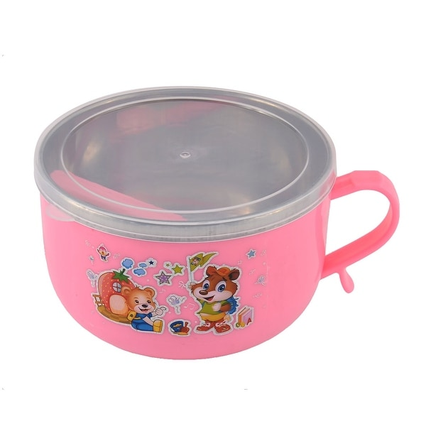 Unique Bargains Home School Picnic Camping Double Layers Lunch Box Container Pink w Spoon