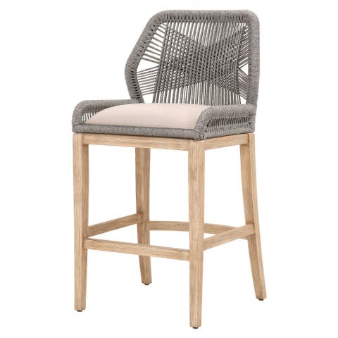 Intricate Rope Weaved Padded Barstool, Gray and Brown