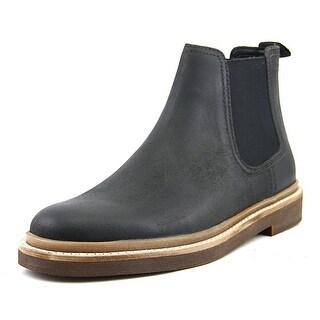 Clarks Bushacre Up Men  Round Toe Leather Black Boot