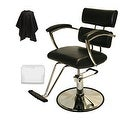 LCL Beauty Contemporary Black Hydraulic Barber Styling Chair with Padded Armrests - Thumbnail 0