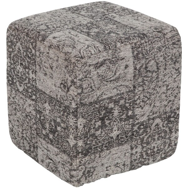 """16"""" Gray and Black Traditional Style Jacquard Cubic Pouf Ottoman - N/A"""