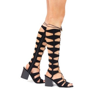 Static Fashion Womens Suede Chunky Heel Strappy Back Zip Gladiator Sandals