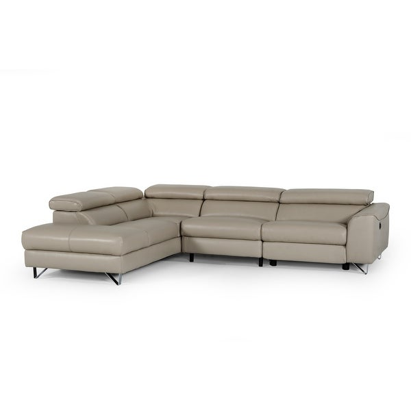 Divani Casa Versa Modern Light Taupe Eco-Leather LAF Chaise Sectional w/ Recliner. Opens flyout.
