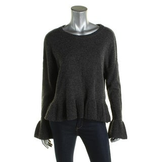 Cinq a Sept Womens Pullover Sweater Ruffled Trumpet Sleeves - S