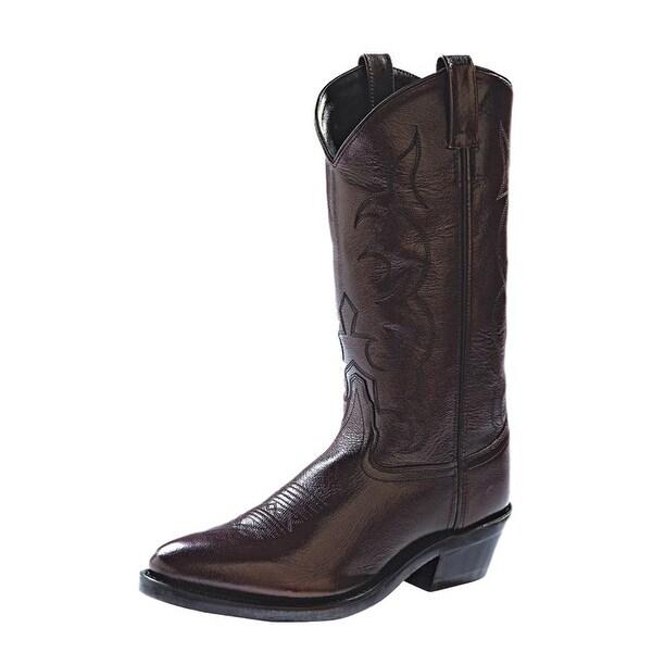 Old West Cowboy Boots Mens Tough Work Outsole Black Cherry