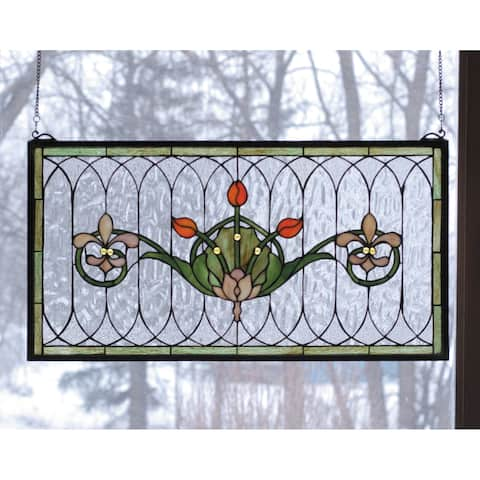 Meyda Tiffany 68019 Stained Glass Tiffany Window from the Arts & Crafts Collection