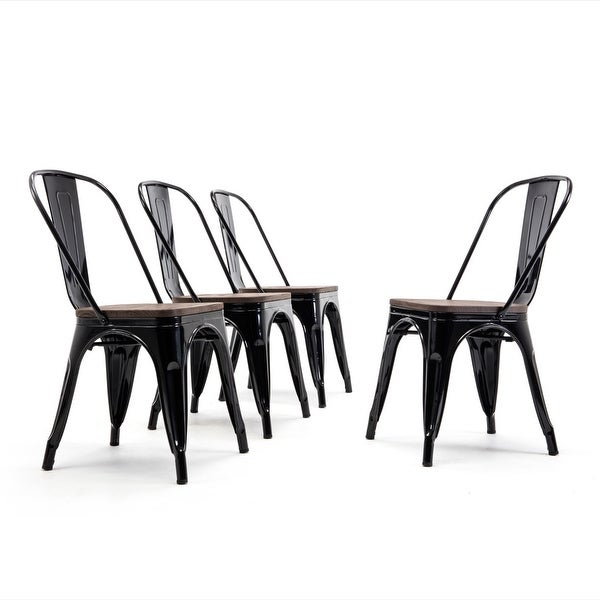 Shop Belleze Industrial Stackable Bistro Dining Chairs Set