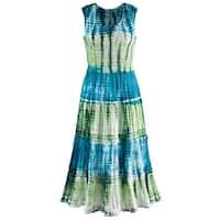 "Sleeveless Sundress - Tie-Dye Ribbon Tiered Tea-Length Long Dress - 48"""