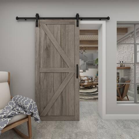 Artisan - Grey Vinyl Barn Door with Installation Hardware Kit