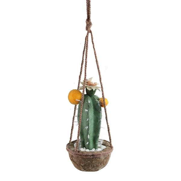 """8"""" Green and Orange Southwestern Style Hanging Potted Cactus with Flowers - N/A"""