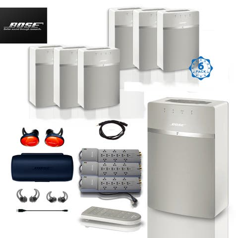 6x Bose SoundTouch 10 (White) + FREE SoundSports + 4 pc Acc Bundle
