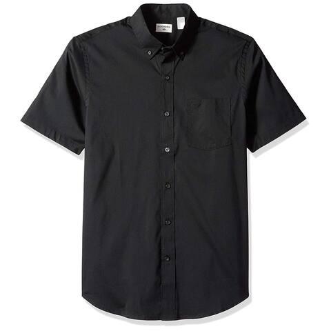 Dockers Mens Shirt Solid Black Size Large L Comfort Flex Button Down