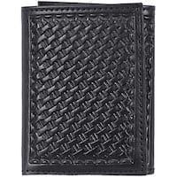 3D Western Wallet Mens Leather Trifold Basketweave - One size